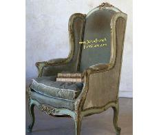 Louis Single Sofa Smooth Blue Distressed