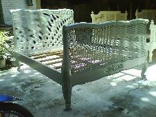 Kardi Rattan Bed 4'/5'/6' feet Grey Distressed